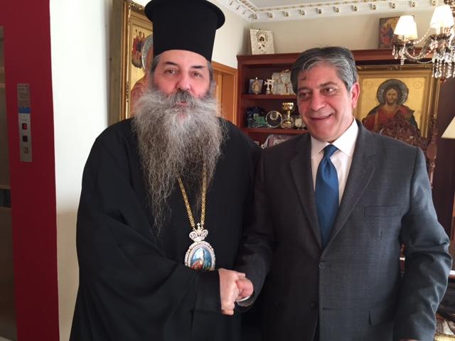 Επίσκεψη του Παλαιστίνιου πρέσβη στην Ιερά Μητρόπολη Πειραιώς
